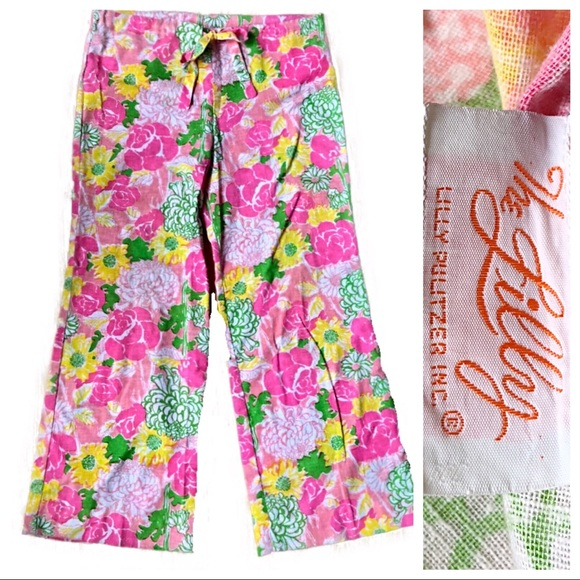 ad3f0daee091a6 Lilly Pulitzer Pants - Vintage Lily Pulitzer Pink Floral Palazzo Pants